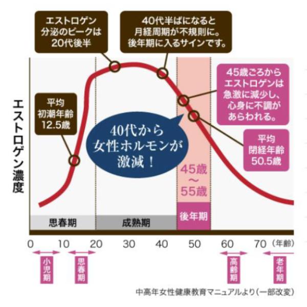 エストロゲンの減少グラフ