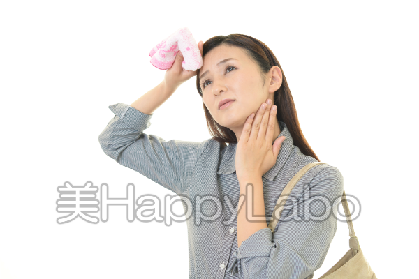 汗かき女性