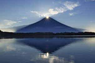田貫湖のダブルダイヤモンド富士