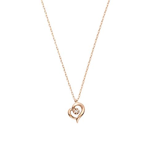 オープンハートネックレス K10ピンクゴールド、ダイヤモンド